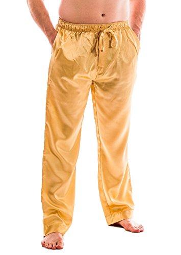 Men's Satin Lounge Pants (L, Golden)