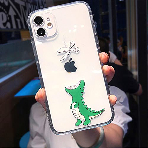 LIUYAWEI para iPhone 11 Creativity Soft Phone Case para iPhone 11 Pro MAX XS MAX XR X 7 8 Plus Dinosaurio Contraportada Transparente a Prueba de Golpes, T1, para iPhone 11pro MAX