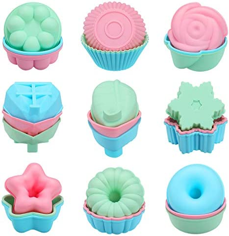 Senbowe Silicone Reusable Baking Cups Muffin Baking Cups Cup Cake Liners Nonstick Easy Clean product image