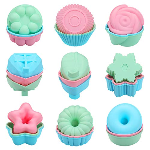 Senbowe Silicone Reusable Baking Cups, Muffin Baking Cups,Cup Cake Liners,Nonstick Easy Clean Pastry Muffin Molds 9 Shapes Round, Stars, Heart, Flowers, 27 Pieces Colorful