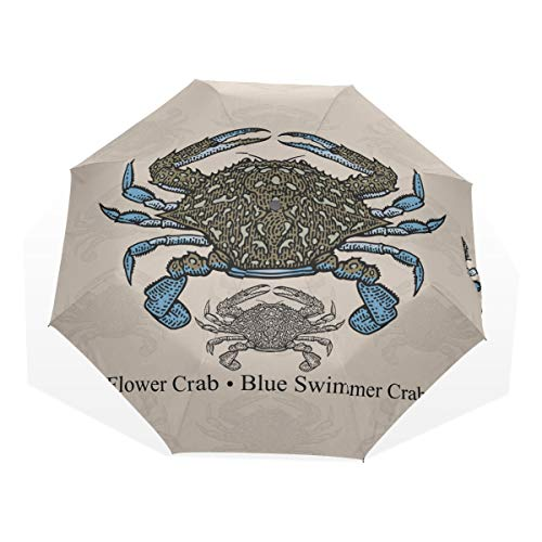 Travel Umbrella Waterproof Flower Crab Blue Swimmer Crab Blue Manna Crab Windproof Fold Up Umbrella for Kids Rain & Wind Resistant Compact and Lightweight for Business and Travels