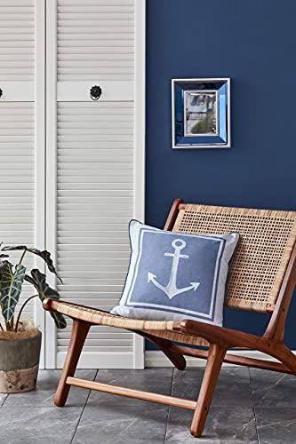 NAUTICA Funda de cojín y almohada de color azul marino | Funda de cojín decorativa para sofá, coche, dormitorio, salón