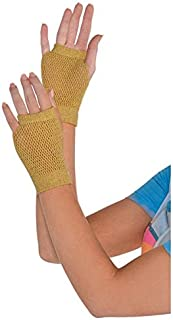 Amscan Short Fishnet Gloves, Party Accessory, Gold