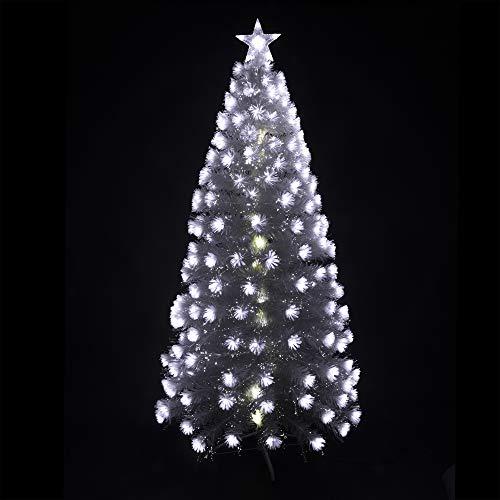 Arcoiris® Árbol de Navidad Fibra con Luces LED Árbol de Fibra Óptica de Navidad con el Cambio de Color Luz LED Fibra Óptica (120 CM, Blanco)