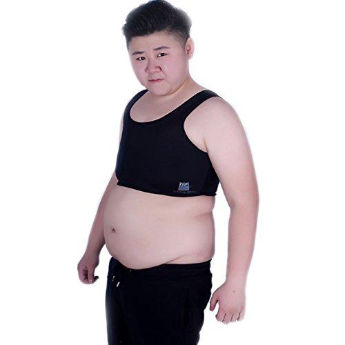 BaronHong Tomboy Trans Lesben Netz Brustkorsett Korsett Plus Size Short Tank Top (schwarz, 2XL)