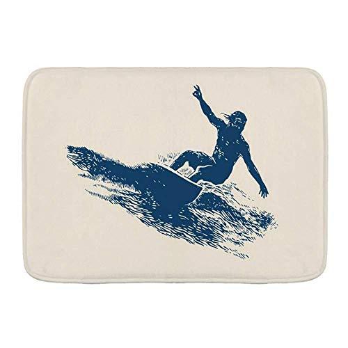 Fußmatten, Sport Summer Beach Surfing Design Surfer Emblem Extreme Wave Surf Sport Erholung Insel Retro, Küche Boden Badteppich Matte Saugfähig Innen Badezimmer Dekor Fußmatte Rutschfest