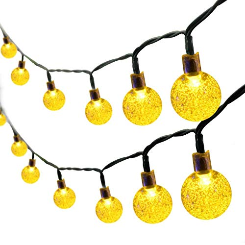 XYACM Solar String Lights Outdoor Waterproof Solar Powered Crystal Ball Decorative Lights for Garden, Patio, Yard, Home, Chrismas Tree, Parties (Color : Yellow, Size : 6.5m)