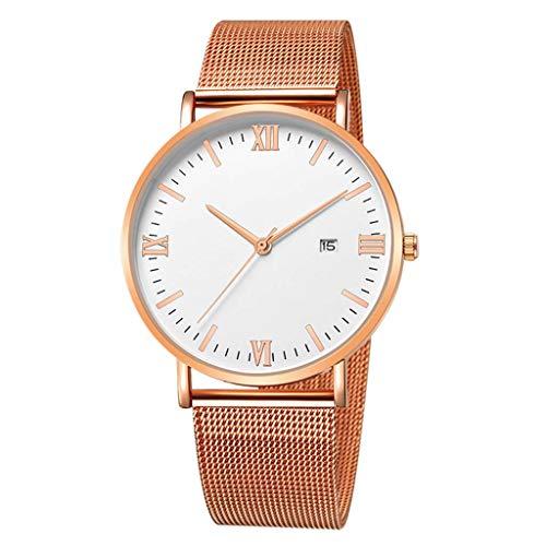 UINGKID Collection Unisex-Armbanduhr Mode Edelstahl Mesh Gürtel Uhr Herren Quarz Kalender Uhren