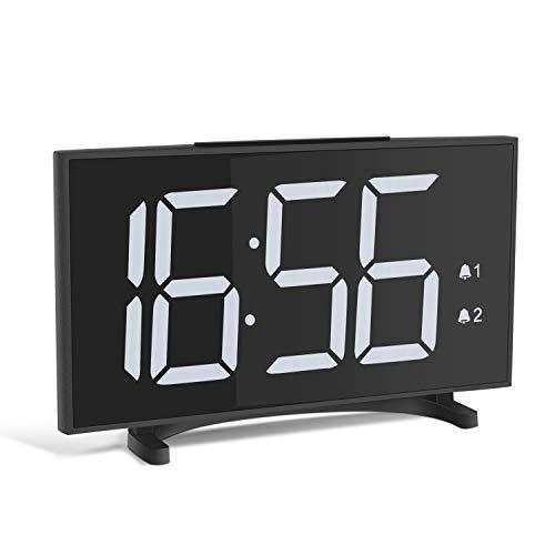 YISSVIC Despertador Digital Reloj Despertador Digital con 6,5 Pulgadas Gran Pantalla LED con Alarmas Función de Snooze y 6 Niveles de Brillo Ajustable Incluye Cable USB