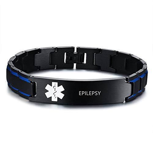 Personalised Medic Alert Bracelet for Men Women - Stainless Steel Emergency Medical Mens Bracelets - Official ID Wristband with Medic Alert Badge - Customised Engrave Health Informaiton,Adjustable