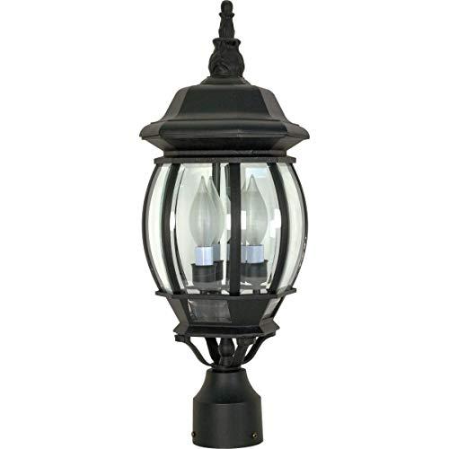 NUVO 60/899 Three Mount Central Park Outdoor 3-Light Post Lantern, 60 Watts/120 Volts (Black)