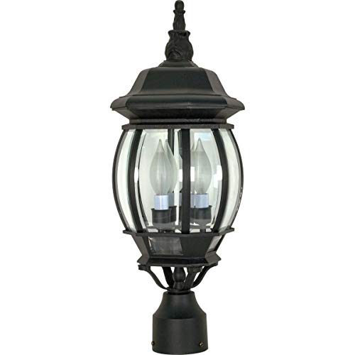 Nuvo Lighting 60/899 Central Park Outdoor 3-Light Post Lantern, 21, Black