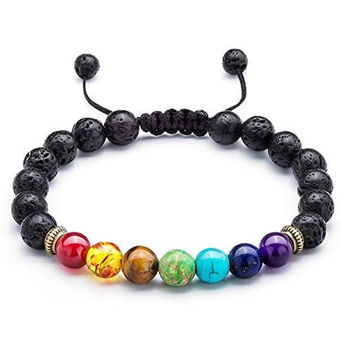 BCDZZ Pulseras tejidas a mano para mujer y hombre, elegantes piedras de colores, con cuentas de cristal, estilo retro, hecho a mano, ajustable, joyería de regalo, estilo 1