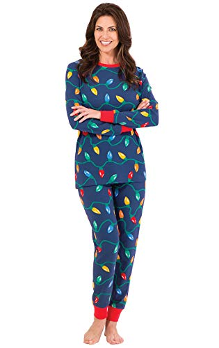 PajamaGram Womens Christmas Pajamas Adult - Christmas Lights, Blue, L, 12-14