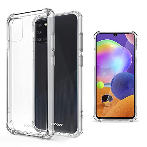 Moozy Transparent Silikon Hülle für Samsung A31 - Stoßfest Klar TPU Hülle Handyhülle Schutzhülle