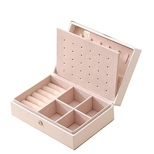 Caja De Joyería Pequeño Y Portátil Caja De Joyería De Doble Capa Pendientes Anillo Collar Collar Joyería De Almacenamiento 16.5 * 11.5 * 6Cm,Blanco