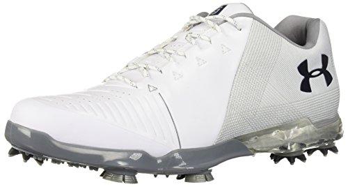 Under Armour Men's Spieth 2 Golf Shoe, White (105)/Metallic Silver, 12