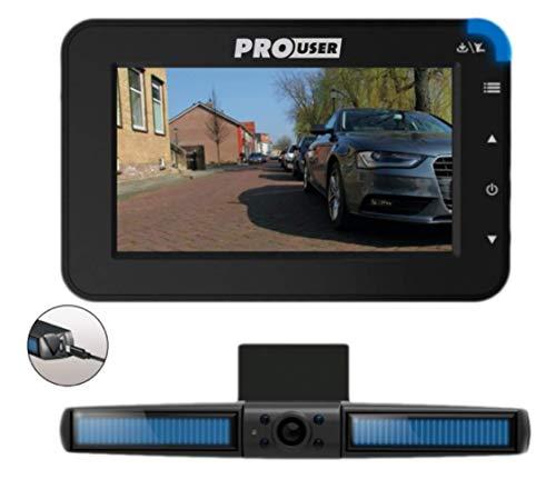 Pro User Solar Rückfahrkamerasystem DRC4310 SOLAR: digitales kabelloses Funk-Rückfahrkamera-Set mit LCD-Display (4,3'' Monitor) und eingebautem Solarmodul – kinderleichte Montage
