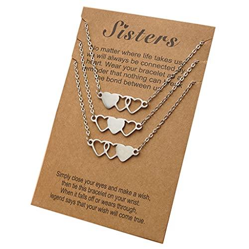 IOOOFU 3 Piezas de Collares Cortos en Forma de corazón de Hermana Collar de Mejor Amigo de Acero Inoxidable Adecuado para 3 Hermanas y 3 Amigos