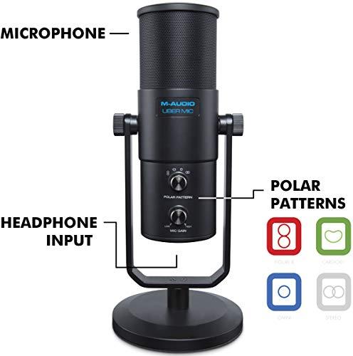 M-Audio Uber Mic - professionele USB-microfoon met verwisselbare richtkarakteristiek voor YouTube, Podcast, gaming en de productie van muziek