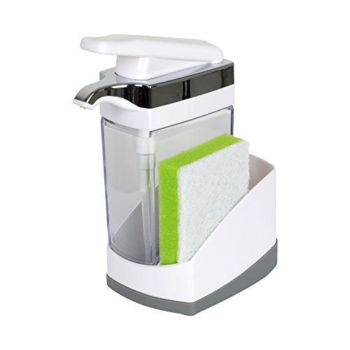 Casabella Sink Sider – Jabonera con Esponja para Fregadero, Blanco, 1