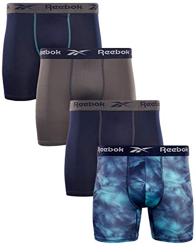 Reebok Men's Performance Boxer Briefs with Comfort Pouch (4 Pack) (Blue/Print/Magnet, Large)