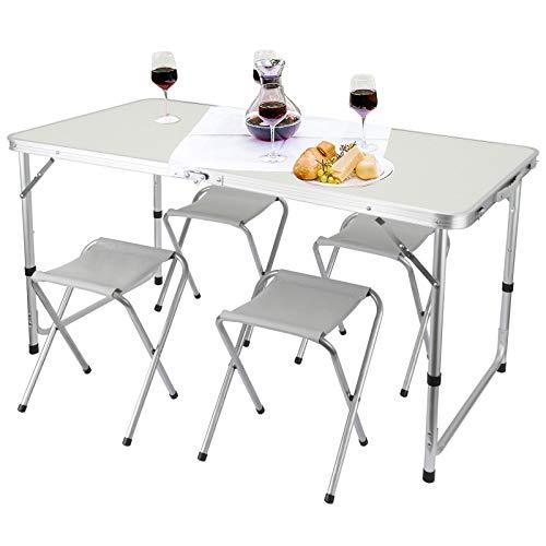 Rayisin Mesa de camping de 120 x 60 x 50/60/70 (altura regulable), mesa plegable de aluminio con asa, juego de 4 sillas, mesa de jardín, mesa de trabajo, mesa de balcón, mesa de fiesta, mesa de buffet