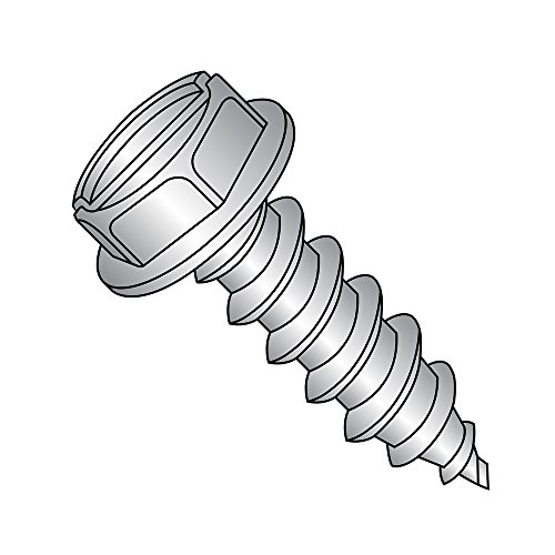 18-8 Stainless Steel Sheet Metal Screw, Plain Finish, Hex Washer Head, Slotted Drive, Type AB, 5/16