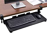 ABCWY Keyboard Tray Under Desk with C Clamp-Large Size, Steady Slide Keyboard Stand