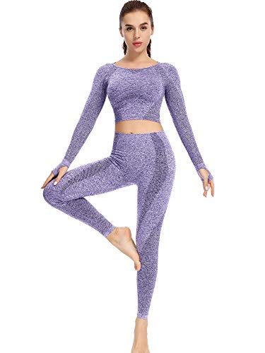 Sytiz SeamlessLong Sleeve Workout Sets for Women 2 Piece Yoga Outfits Gym Crop Top Compression Athletic Shirt + High Waisted Leggings (Blue, Large)