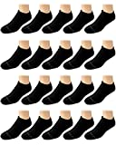 Body Glove Men's Athletic Cushioned Low Cut Socks (20 Pack), Size Shoe Size: 6-12.5, Black