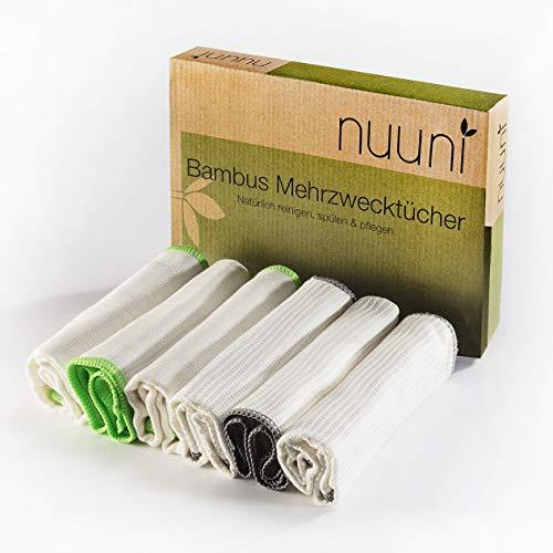 Nuuni Bambus Putztücher ohne Mikrofaser und Baumwolle - 6 Putzlappen mit verschiedener Wabenstruktur für Hochglanz in Küche, Bad und dem ganzen Haus