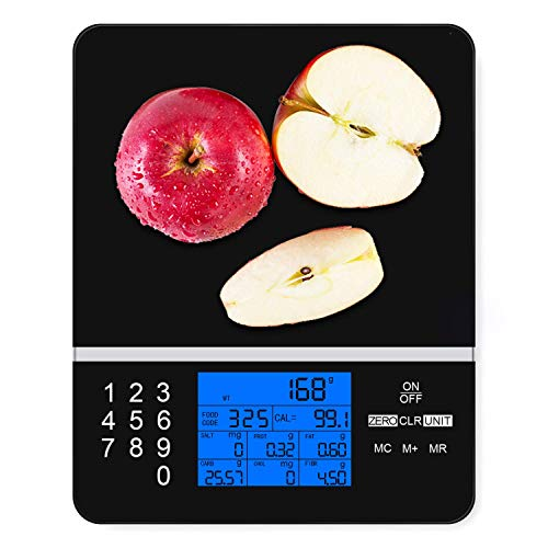 Smart Food Scale with Perfect Portions Nutritional Facts Display, Digital Nutrition Kitchen Scale - Accurate Food and Nutrient Calculator, Pursue a Healthier You (Black Smart Scale)
