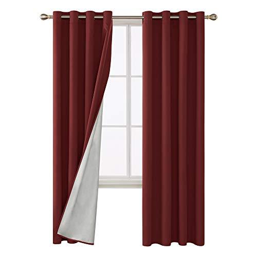 Deconovo Vorhang Blickdicht Gardinen Thermovorhang Schlafzimmer Ösenvorhang 240x135 cm Rot 2er Set