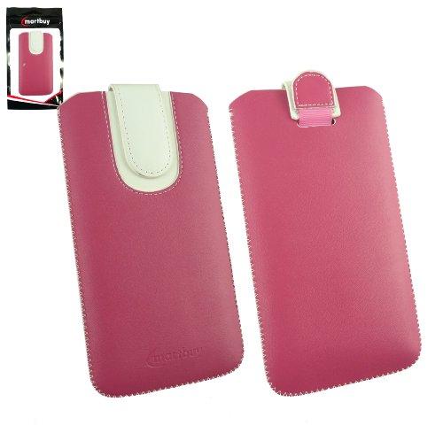 Emartbuy® Hot Rosa / Weiß Premium PU Leder Slide in Hülle Tasche Sleeve Halter ( Größe 5XL ) Mit Pull Tab Mechanism Passend für Uhappy UP580 Smartphone