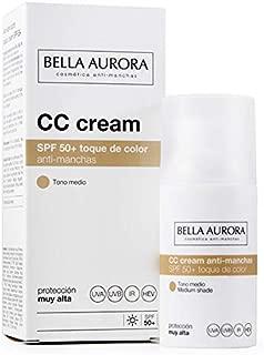 Bella Aurora Crema Facial con Color y Protección Solar 50+ Anti-Manchas para Piel Normal o Seca, Tono Medio 30 ml