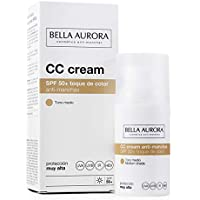 Bella Aurora Crema Facial con Color y Protección Solar 50+ Anti-Manchas para Piel Normal o Seca, Tono Medio 30 ml