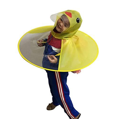 Oyamihin Kreative Cartoon Ente Regen Hut Faltbare Kinder Regenmantel Regenschirm Cape Cute Regen Mantel Umhang Universal für Jungen Mädchen - Gelb