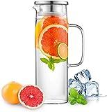 Sharemee 1.2 litros Jarra de Vidrio con Tapa Jarra de té Helado Jarra de Agua Agua fría ...