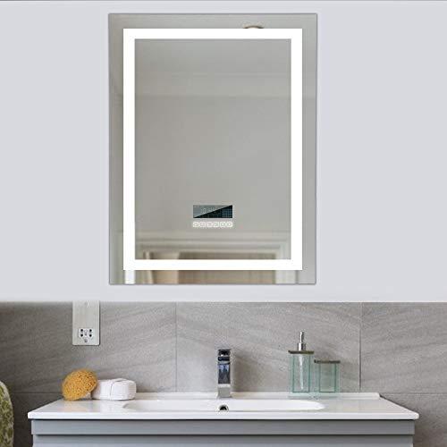 Turefans Espejo baño, Espejo baño con luz, Audio Bluetooth, Pantalla LCD (Fecha, Hora, Temperatura), antivaho, 2 Colores (Blanco frío/Blanco cálido)