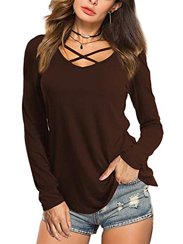 Beluring Bluse Damen Casual Tunika Tops V-Ausschnitt Solides Criss Cross T-Shirt, A-kaffee, 38-40 (Herstellergröße: M)