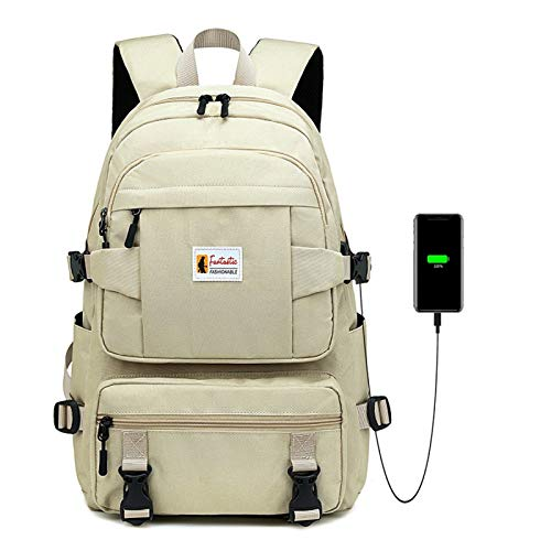 15.6-inch Travel Laptop Backpack with USB Charging Function, Waterproof Oxford Cloth, Anti-Theft Business Laptop Backpack with Breathable Shoulder Strap, School/Work/Travel Computer Backpack Khaki M