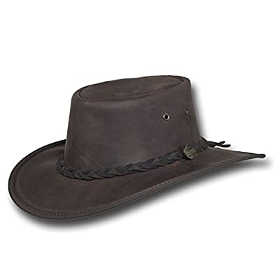 7e095114426a5 This Barmah Adventurer Fedora Leather Hat is made of pig suede leather