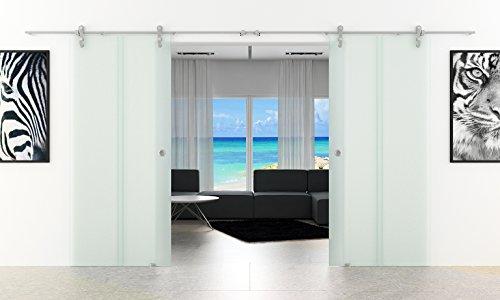 Doppel-Glasschiebetür 2050 x 2050 mm 2 Streifen-Senkrecht-Design (T) Levidor® Edelstahl-System komplett Laufschienen/Laufrohre und Muschelgriffen Schiebetür aus Glas für Innenbereich