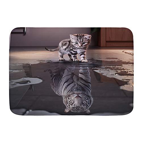 KASABULL Badematten Lustiger Tierhintergrund der Katze und des Tigers,45x75cm Badematte rutschfest Waschbar Badezimmer Teppich Weiche Hochflor Badvorleger aus