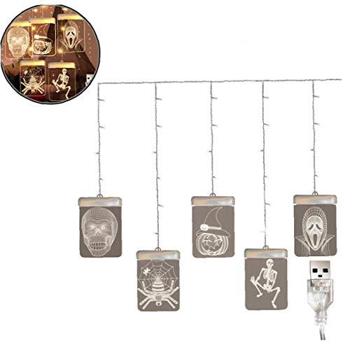 Zonfer 1pc Halloween-Schnur-licht Kreative USB-schädel Anzeige Hängeleuchten Garden -Dekoration Licht Halloween-Dekoration