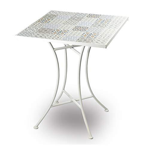 Disraeli Tavolo Quadrato Ferro Bianco Mosaico