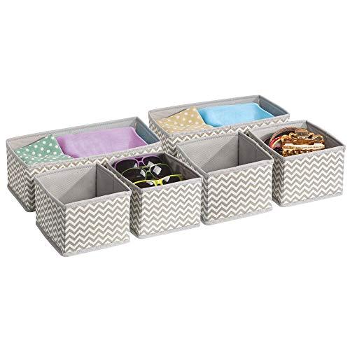 mDesign 6er-Set Stoffbox für Schrank oder Schublade – die ideale Aufbewahrungsbox für Wäsche, Gürtel, Accessoires etc. – flexibel verwendbare Stoffkiste mit Zick-Zack-Muster – beige