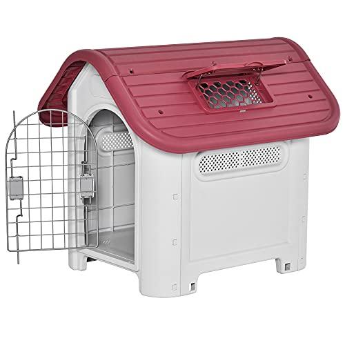 Pawhut Caseta para Perro con Puerta Extraíble Base Elevada 3 Respiraderos y Ventana Abrible Caseta de Perros para Interior y...