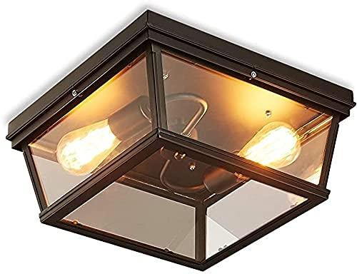 Candelabro Lámpara de Techo de Estilo Retro Industrial Plaza de Vidrio Transparente Luz de Techo de Metal Diseño nostálgico Simple Iluminación de Techo Dormitorio